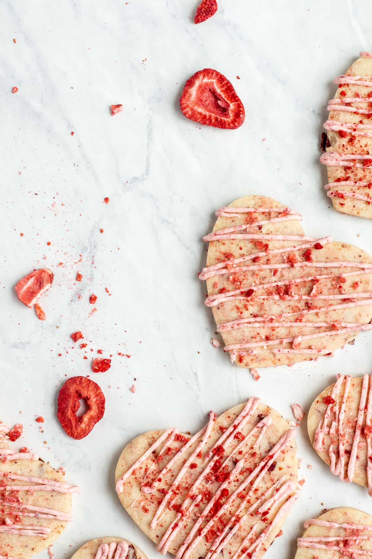 Strawberries and Cream Shortbread Cookies