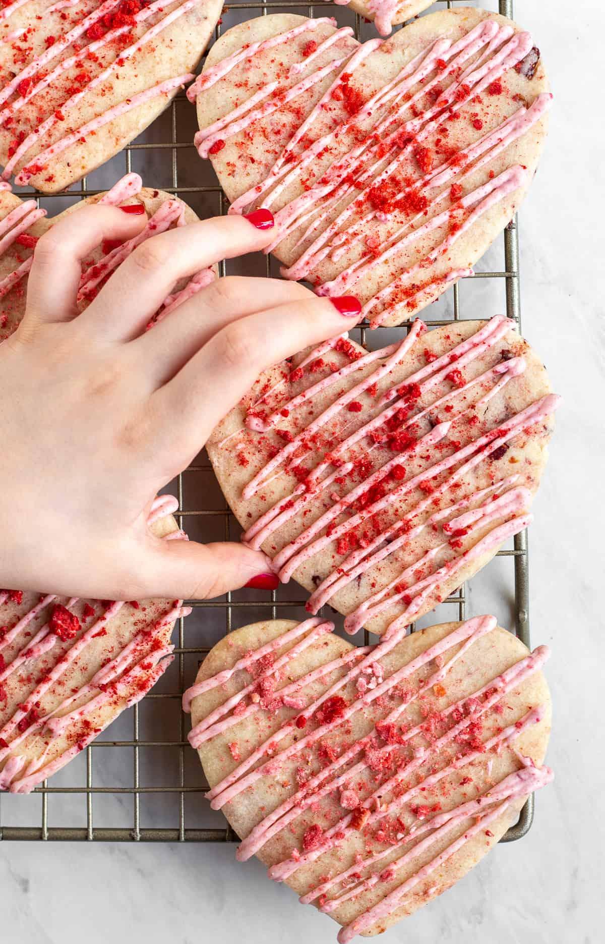 Strawberries and Cream Shortbread Cookies