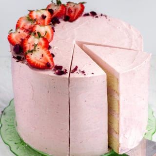 Strawberry Rose Buttermilk Cake