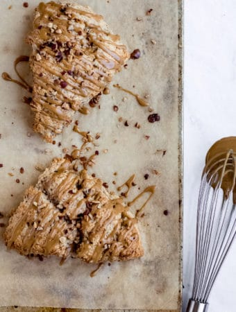 Banana Bread Scones with Espresso Glaze