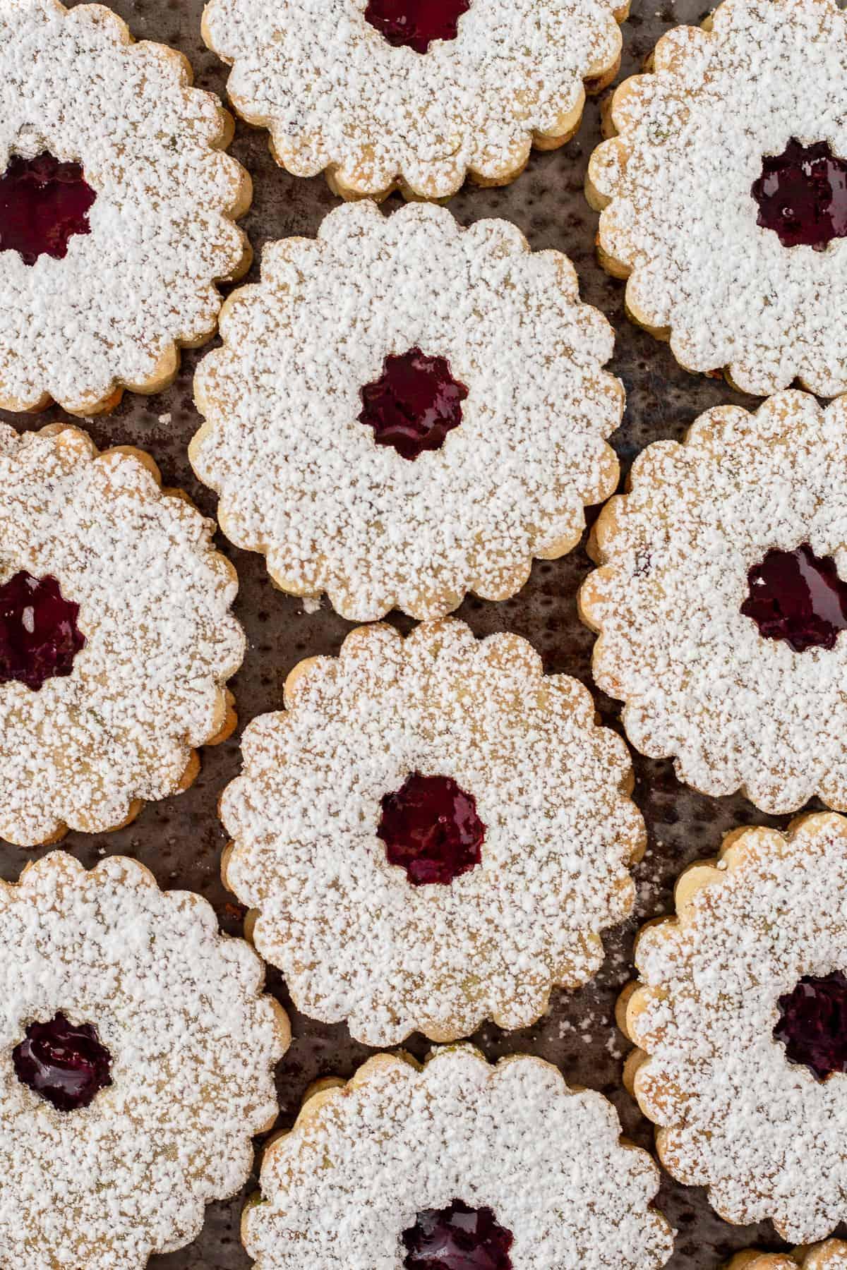Pistachio Cherry Linzer Cookies