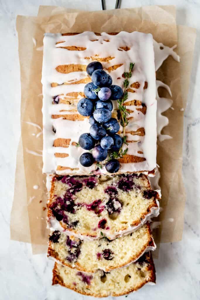 Blueberry Lemon Thyme Loaf Cake