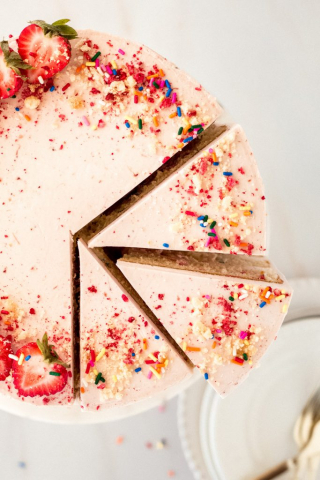 Malted Funfetti Strawberry Cake
